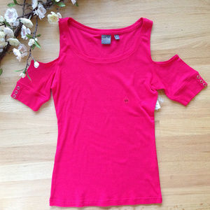 New York & Company Pink Cold Shoulder Top